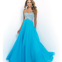 Blue Capri Strapless Sweetheart Beaded Bodice Chiffon Gown