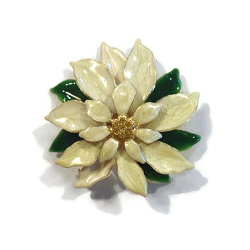 Vintage Holiday Brooch / White Poinsettia Pin, Christmas Jewelry, Holiday Pin