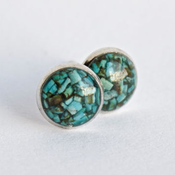 8mm Turquoise Stud Earrings. Tiny Turquoise Studs. Tiny Turquoise Earrings Turquoise Studs Turquoise Stone Earrings Turquoise Post Earrings