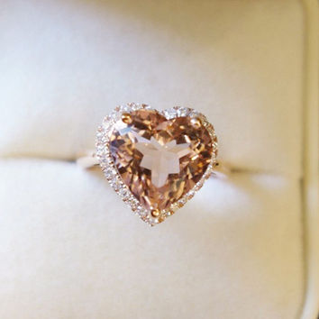 VS 8mm Heart Morganite Ring SI/H Diamonds Ring 14K Rose Gold Ring Wedding Ring Engagement Ring Anniversary Ring