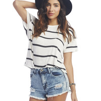 Striped Loose-Fit Tee | Wet Seal