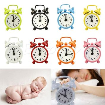 1PC Home Outdoor Portable Cute Mini Cartoon Dial Number Round Desk Alarm Clock C73