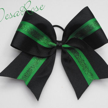 Cheer Bow Black & Green - sports hair bow- Softball hair bow