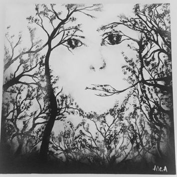 black and White woman face/tree abstract black and white/woman face painting wall decor