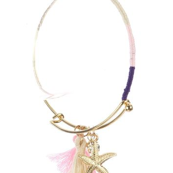 Mulit Color Starfish Tassel Charm Metal Wire Bangle Bracelet