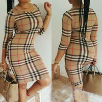 Khaki Plaid Print Bodycon Dress
