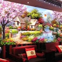 2016 DIY 5D diamond painting Cross Stitch home decor Wall Sticker garden cottage Mosaic Free Shipping