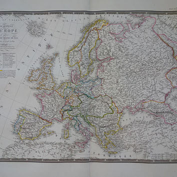 "EUROPE old map of Europe LARGE 1828 original antique French print of the European continent vintage hand-colored maps poster 21x26"" big"