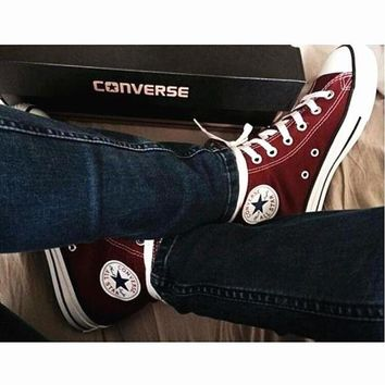 DCCKHD9 Converse All Star Sneakers canvas shoes for Unisex sports shoes High-top wine red