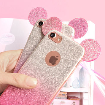 3D Minnie Mickey Mouse Ears Silicone Case for Samsung Galaxy S7 S6 Edge S5 A5 J5 2016 Case For iPhone 6 Case 6 7 Plus 5 5S Cover