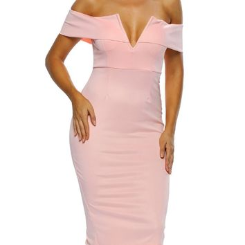 Scene-stealing Off The Shoulder Mid Calf Dress - Pink