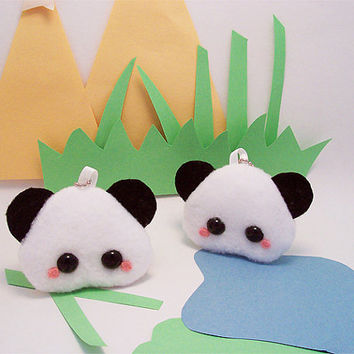 Pudding Zoo Animal Keychain Kawaii Stuffed Toy Panda by quacked