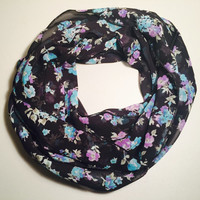 Spring, Summer Lightweight Infinity Scarf, Loop Scarf, Circle Scarf, Single Loop, Double Loop - Vintage Flower, Birthday