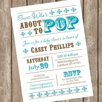 About to Pop Baby Shower Invitation, baby shower invitation, brown, teal, aqua, turquoise, typography, printable invitation
