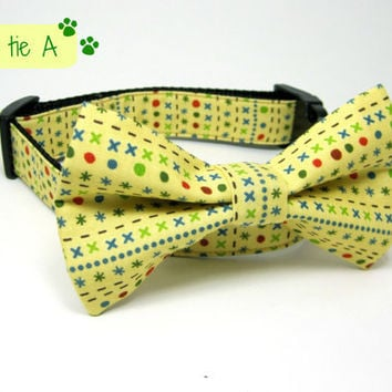 Scoot Stripe Yellow Dog Collars with bow tie set  (Mini,X-Small,Small,Medium ,Large or X-Large Size)- Adjustable