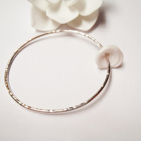 Puka Shell Bangle Sterling Silver Made in Hawaii