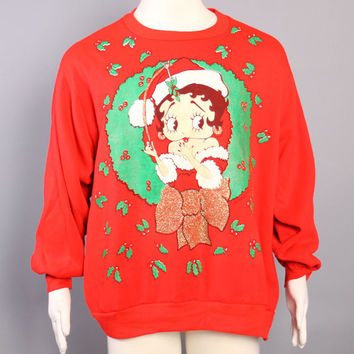80s Ugly CHRISTMAS SWEATSHIRT / A Betty Boop Christmas Xmas Sweater