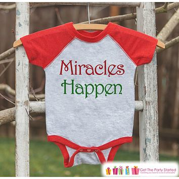 Miracles Happen Christmas Outfit - Kids Holiday Shirt or Onepiece - Pregnancy Reveal and Announcement - Boy Girl, Kids, Baby, Toddler, Youth