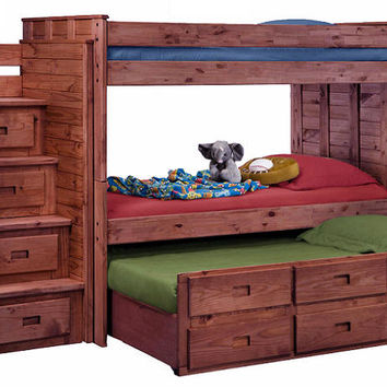 Raven Hill Extra Long Twin over Twin Combo Stairway Bunk Bed