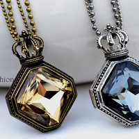 Baroque Retro Jewelry, Crown Crystal Necklace, Pendant Jewelry, Vintage Style, His and Hers, Gift for Lover  SC-6