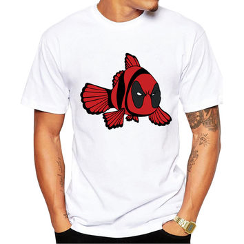 Finding Demo Deadpool & Finding Nemo Men's Short Sleeve Casual White T-Shirt
