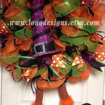 Whimsical Witch Halloween Deco Mesh Wreath - Witch Wreath - Halloween Decor - Witch Leg and Witch Hat Wreath - Fall Deco Mesh