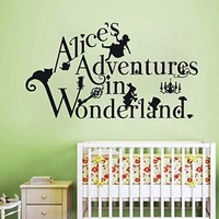 Wall Decals Quote Alices Adventures in Decal Alice In Wonderland Vinyl Sticker Bedroom Nursery Baby Room Home Decor Interior Design Art Mural Ms529