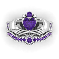 Purple Amethyst Heart Claddagh Ring