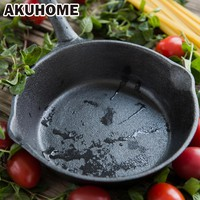 16cm Black Long Handle Not Sticky Casting Iron Pan Stone Layer Frying Pot Saucepan Small Fried Eggs Pot Gas And Induction Cooker