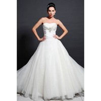 Strapless ball gown ruffle organza bridal gown