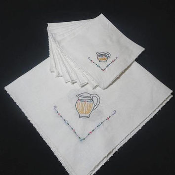 1970s Vintage Hand Embroidered White Linen Tea Service Tablecloth & 7 Napkins, Teapot, Cup, Creamer, Picot Edge, Vintage Table Linens, Lunch