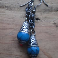 Turquoise Blue, Resin, Coral, Tear Drop, Dangle Earrings, Tribal, Filigree, Tibetan Silver, Amulet Earrings