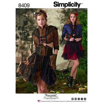 Sewing Pattern for Misses' Steampunk Bolero and Corset Skirt, Simplicity Pattern 8409, Women's Steampunk Costumes, Arkivestry Haunt Couture