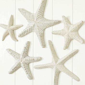 CARVED WOOD STARFISH, SET OF 5