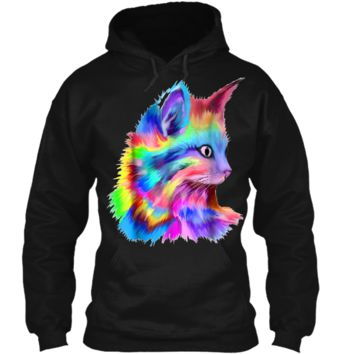 Colorful Cute Rainbow Kitten Cat Psychedelic Rave Edm  Pullover Hoodie 8 oz