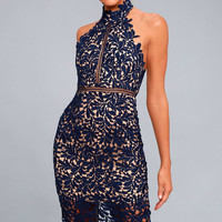 Divine Destiny Navy Blue Lace Midi Dress