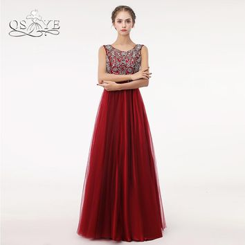 QSYYE Red Long Prom Dresses 2018 Robe de Soiree A-line Beaded Top Floor Length Tulle Evening Dress Party Gown Custom Made