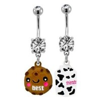 "316 Surgical Steel Clear Prong Set Best Friends Milk and Cookie Belly Ring -14g (1.2mm), 3/8"" Length - Sold as a Set"