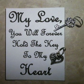 My Love You Will Forever Hold The Key To My Heart  His and Hers Key Chain Charms
