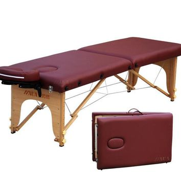LK39 Portable Facial SPA Bed Length Adjustable Tattoo Couch Physiotherapy Thicken Solid Wood Beauty Massage Table