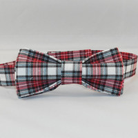 Men's Red Plaid Adjustable Bowtie
