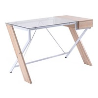 Tangkula Computer Desk Glass Top with Drawer Compute Desk Table Home Office Furniture