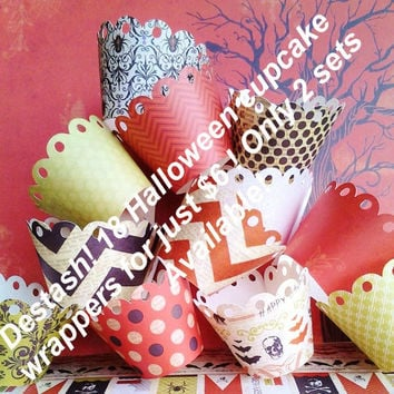 Halloween cupcake, 18 cupcake liners, destash, ready to ship, on sale, southernscrappn, halloween party