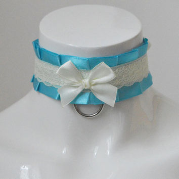 Kittenplay collar - Lovely mermaid - BDSM proof ddlg daddy kink princess kawaii cute neko lolita petplay kitten play choker w leash ring