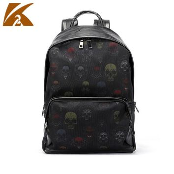 Leather School Backpack Bags for Teenage Boys Fashion Skull Printed Backpacks Men Casual Daypacks