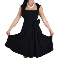 50's Vintage Design Rockabilly Vamp Black Belted Party Dress with Bow Accent