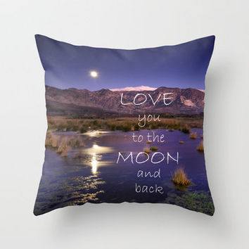 Love you to the moon and back.  Valentine's Day Throw Pillow by Guido Montañés | Society6