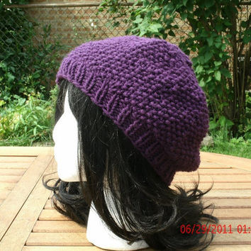 CIJ - Knit Hat - The Preppie in Purple - Hand Knit Hat Handmade hat - Unisex Hat - Spring, Fall, Winter Accessories