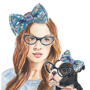 Watercolor Print - Portrait Painting, Girl and her Dog, Boston Terrier, 11x14, Open Edition