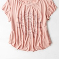 AEO Women's Cropped Graphic T-shirt (Rose Tan)